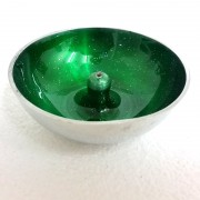 Aluminium Incense Dish GREEN with Glitter