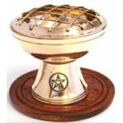 Charcoal Burner Brass on Stand PENTAGRAM with Wooden Base