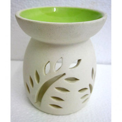 Ceramic White Oil Burner 10cm high Green Bowl